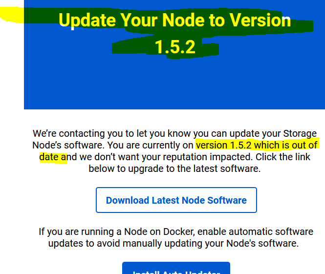 Storj - Update Node Email