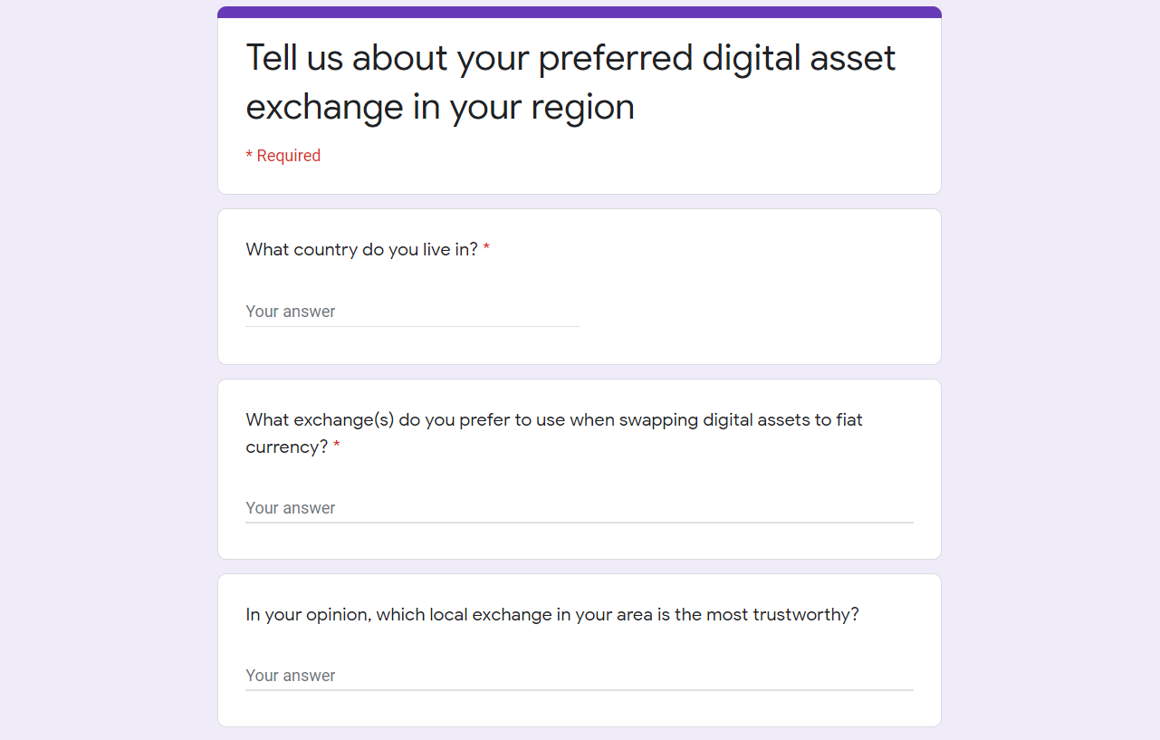screenshot of survey form
